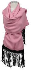 Schal stole écharpe scarf Stola 100% Alpaka Rosa Schwarz Seide Fransen Tassels