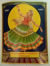 INDIAN VINTAGE TREAD MILL LABEL- DANCING GIRL /SIZE -7X9 INCH