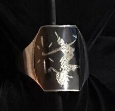 Nielloware Hand Carved Adjustable Ring Nice Vintage Estate Sterling Silver Siam