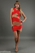 Stretta NWT XS Sofia Signature Bandage Dress Red Nude Tan Combo Bodycon Club