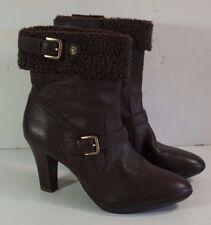 Anne Klein AK Andre Brown Leather High Heel Winter Fashion Boots Sz 9