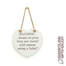 Shabby Chic Heart Story Alcohol Hanging Sign Plaque Gift Novelty Wall Art
