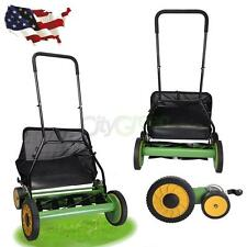 "New 20"" Height Adjustable Classic Hand Push Lawn Mower Reel Grass Catcher US"