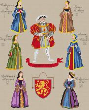 "Henry VIII & 6 Wives Cross Stitch Chart - 13""x16"" (14ct)"