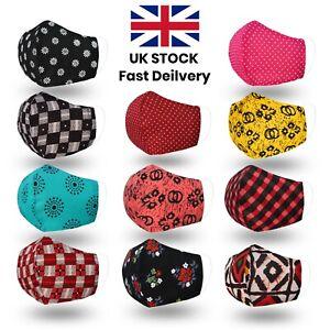 Face Mask Reusable Filter Pocket Double Layered UK stylish Washable Cotton Mask