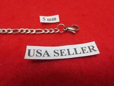 """16"""" Mens,Womens,Boys,Girls,5mm Stainless Steel Silver Figaro Rope Chain Necklace"""