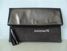 Fold Over Black/Gray Clutch Wallet Cosmetic Bag