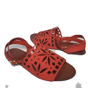 Tory Burch women sandals May Perforated Ankle Strap Orange poppy Size 7.5 new