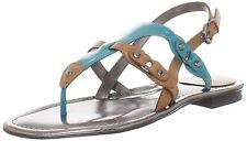 NIB Tahari DECKER Flat Slingback Leather Sandals Shoes Sz 8 Peacock Black Camel