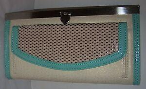 Rolfs Ladies Accordion Frame Clutch Wallet Organizer Light Beige Brand New
