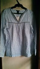 H&M WOMEN'S GEOMETRIC PRINT TUNIC TOP-NAVY/WHITE, Size USA 4