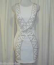 GORGEOUS BCBG MAXAZRIA STUDDED WHITE BODY CON MINI DRESS size M (AUS 10)