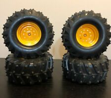 NEW BRIGHT 1/10 Jeep Ford Hummer Yellow Set (4) Wheels and Tires Free Shipping