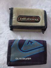 lot de 2 portefeuilles Quicksilver Billabong garcon surfeur 3 volets
