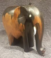 """Antique Vintage Hand Carved Wooden Black And Brown 4"""" x 4"""" Elephant Figure"""