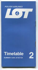 LOT POLISH AIRLINES SUMMER TIMETABLE JUNE - OCTOBER 1984 POLAND