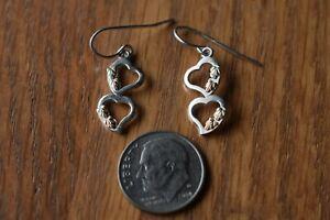 Vintage Coleman Co. Sterling 12k. Black Hills Gold Heart Dangle Earrings