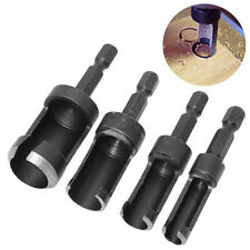 4Pcs Carbon Steel Wood Plug Cutter Set Cutting Drill Bit Tool Hex Shank 6-16mm