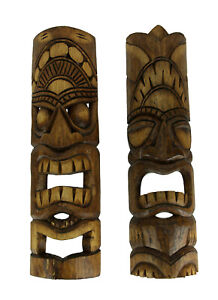 Hand Carved Natural Stained Wood Polynesian Style Tiki Masks 20 inch Set of 2