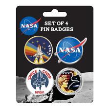 SET OF 4 NASA ENAMEL PIN BADGES BUTTON SPACE CAMP SKYLAB ROCKET SHUTTLE APOLLO