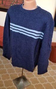 Men's 100% Shetland Wool Ski Sweater Size XL Dark Blue Light Blue Stripes