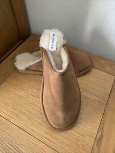 Unisex Woolovers Genuine Sheepskin Tan Mule Slippers - Size 8 RRP£45
