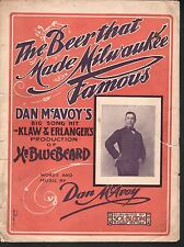 Beer That Made Milwaukee Famous 1903 Large Format Sheet Music