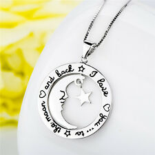 "I Love You To The Moon And Back 925 Sterling Silver Crescent Star 18"" Necklace"