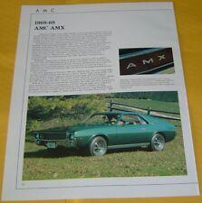 1968 1969 AMC AMX Javelin 290 343 390 ci Info/Specs/photo 12x9 6 pages
