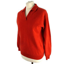 The Cashmere Centre Size 40 UK 12 Orange Rust 100% Pure Cashmere Jumper Collared