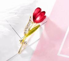 Wedding Bridal Party Brooch Pin Women Rhinestone Crystal Tulip Flower Brooch