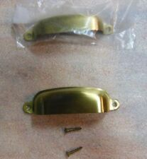 """BRUSHED SOLID BRASS - Cabinet or Drawer Pull w/Matching Screws 4"""" - (NEW in BAG)"""