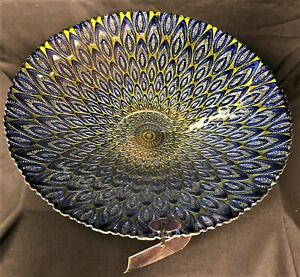 """Decorative Bowl, New. Hand-Decorated Glass with Silver Backing. 12 1/2"""" Diameter"""