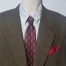 Canali Holt Renfrew Brown Black Check Wool Cashmere 2 Button Italian Blazer 44R