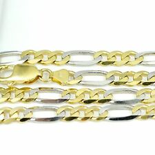"10k Yellow/White Gold Figaro Chain Necklace 22""(new, 24.50g)#2500d"