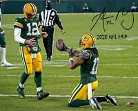 """Aaron Rodgers Packers Signed 16"""" x 20"""" TD Celebration Photo & """"2020 MVP"""" Insc"""