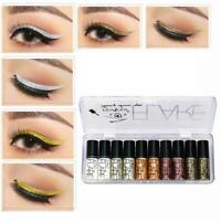10Pcs Glitter Liquid Eyeshadow Long Lasting Waterproof Shimmer Cosmetic Eye P2B7