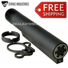 Strike Industries Black 7 position Receiver Extension Tube Castle nut End plate