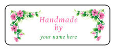 """30 Personalized """"handmade by"""" stickers, Labels, tags envelope seals with flowers"""