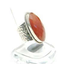 New Sterling Silver 925 ring w faceted Carnelian gemstone Size 7.5