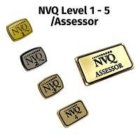 2 X NVQ Metal Pin Hard Enamel Badge Assessor Level NVQ1 NVQ2 NVQ3 NVQ4 & NVQ5