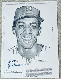 DONN CLENDENON HAND SIGNED AUTOGRAPH NEW YORK DAILY NEWS LITHOGRAPH COA METS