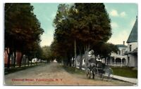 Early 1900s Horse-Drawn Buggy on Chestnut Street, Franklinville, NY Postcard