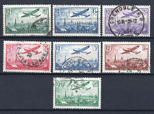 "FRANCE STAMP AERIEN 8 / 14 "" AVION SURVOLANT PARIS 7 TIMBRES"" OBLITERE TTB  P745"