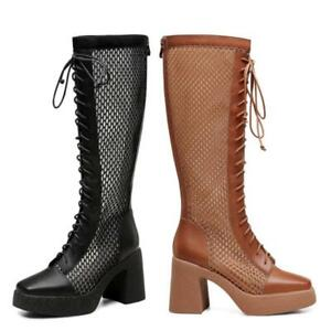 34-41 Women Cowboy Square Toe Block Heel Mesh Breathable Knee High Boots Punk L
