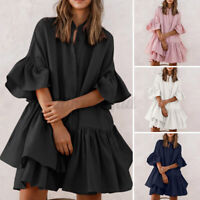 UK Womens Frill Hem Cotton Buttons Long Shirt Tops Ladies Skater Dress Size 8-26