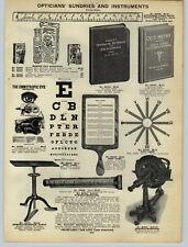 1926 Papier AD Optiker Auge Test Card Ophtalmometer Glas Linsen Koffer