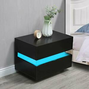 Black Bedside Table Cabinets Nightstand with 2 Drawers Matt Body RGB LED Light
