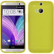 Silikon Hülle für HTC One M8 gelb Dustproof + 2 Schutzfolien