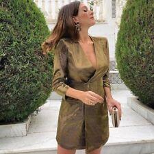 Nuevo con Etiqueta Zara con Cinturón Metálico Hilo Vestido Corto Dorado TALLA S